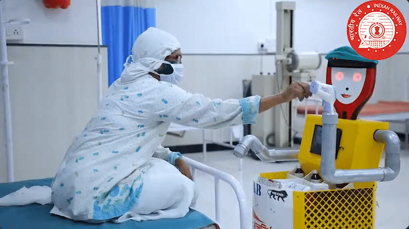 Watch: Medical assistant bot equipped with sanitizers, thermal screening carries essential to coronavirus patients in Solapur hospital