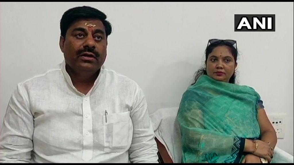 Sumitra Devi Kasdekar with pro-tem Speaker Rameshwar Sharma