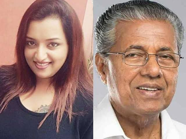 Why did Sambit Patra put up Pinarayi Vijayan's picture with a woman and what did he write?