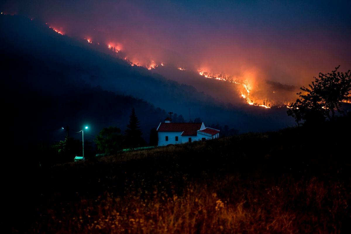 A wildfire burns in Vale da Cuba near Isna village, Castelo Branco.