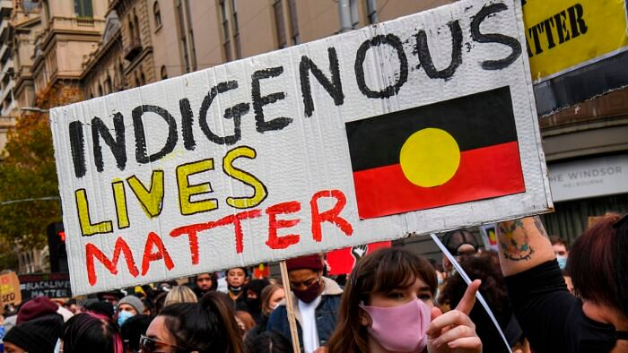 Demonstrators attend a Black Lives Matter protest to express solidarity with US protestors in Melbourne on June 6, 2020 and demand an end to frequent Aboriginal deaths in custody in Australia | Representational image