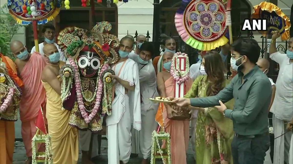 TMC MP Nusrat Jahan attends Ulta Rathyatra celebrations at ISKCON temple in Kolkata
