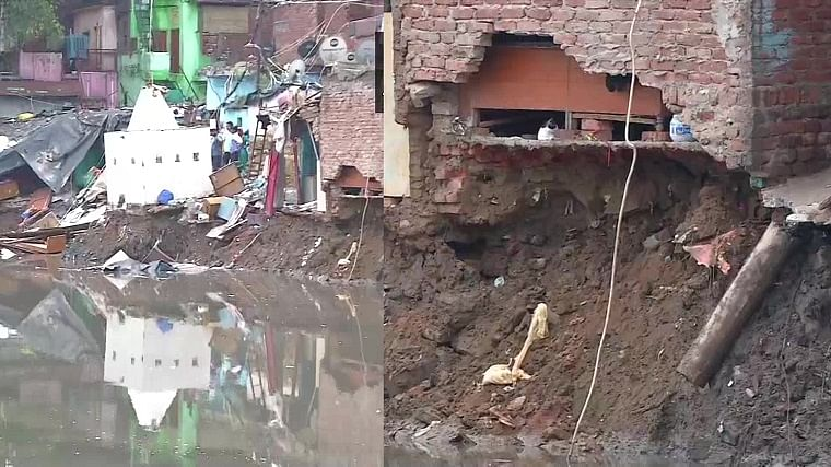 Delhi house collapses amid heavy rains; incident captured on video