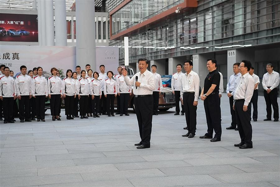 Chinese President Xi Jinping, also general secretary of the Communist Party of China Central Committee and chairman of the Central Military Commission, learns about the reform and development of state-owned enterprises at the R&D headquarters of automaker FAW Group in Changchun, northeast China's Jilin Province, July 23, 2020.