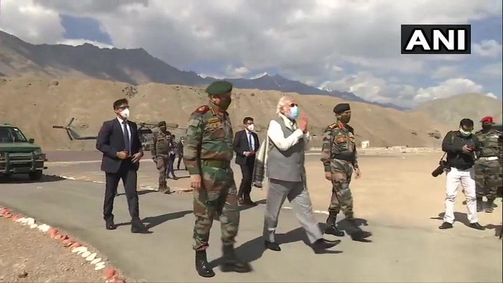 Watch: PM Modi walks with soldiers amid chants of Bharat Mata Ki Jai and Vande Mataram