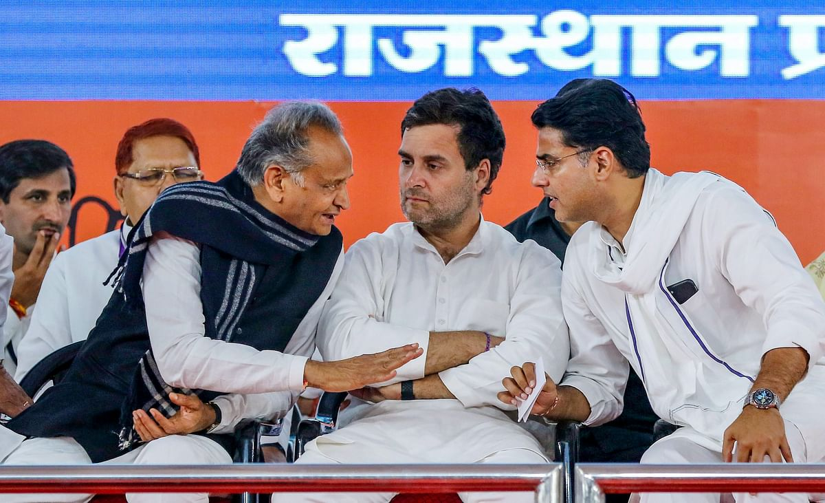 File image from 2019 showing Congress leader Sachin Pilot (R) with the then Congress President Rahul Gandhi and Rajasthan Chief Minister Ashok Gehlot during a party function in Jaipur.