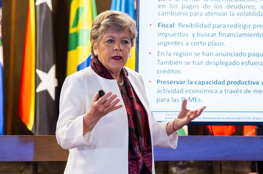 Alicia Barcena, executive secretary of the Economic Commission for Latin America and the Caribbean (ECLAC), speaks at the presentation of a report in Santiago, Chile, April 21, 2020. (ECLAC/Handout via Xinhua)
