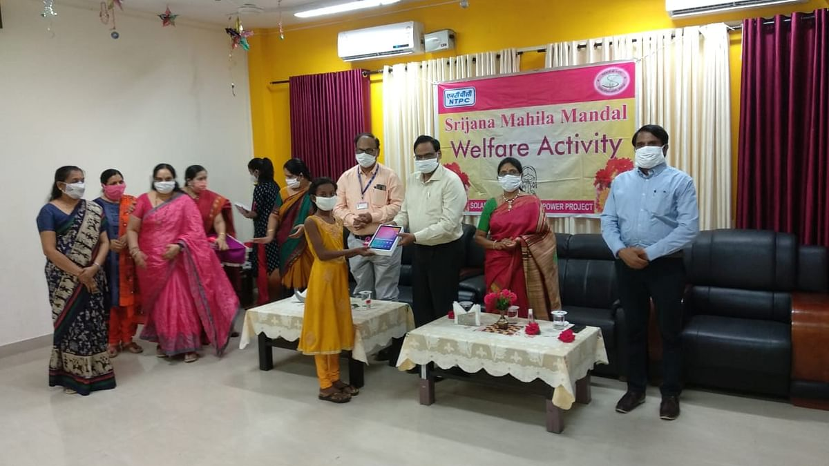 NTPC-Solapur Srijana Mahila Mandal distributed tablets to students for online education
