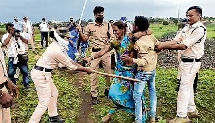 Cops thrash a Dalit family during an anti-encroachment drive in Guna district, Madhya Pradesh.