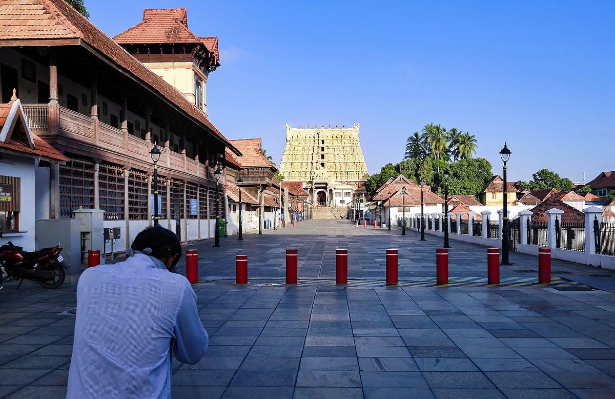 The usually crowded premises of the Sree Padmanabhaswamy Temple wearing a deserted look due to COVID-19 lockdown in Thiruvananthapuram, Monday, July 13, 2020.