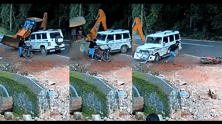 JCB not just doing khudai: Car collides with construction vehicle, hits motorcyclist in shocking video