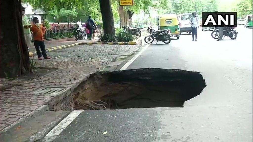 'Vikas spotted at Ashoka Road': Netizens crack jokes as street in Lutyens' Delhi caves in amid heavy rains