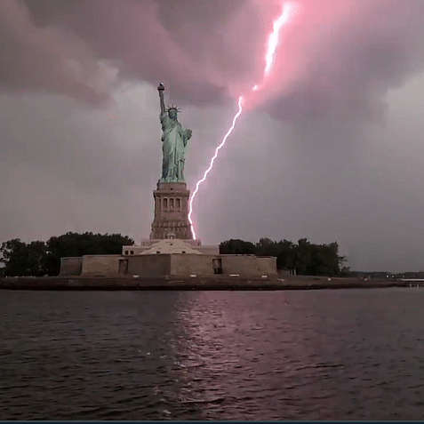 Watch: Photographer captures stunning clip as lightning strikes Statue of Liberty