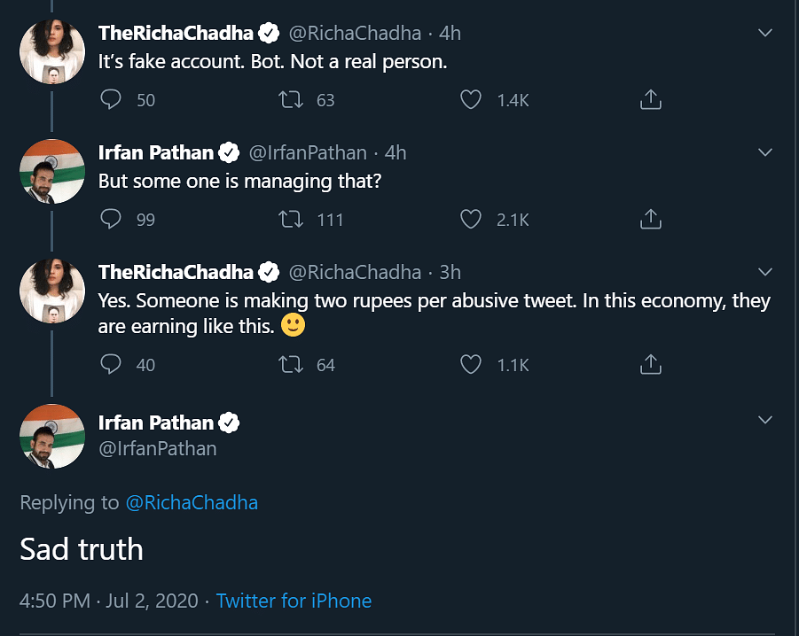 Irfan Pathan slams Twitter user for calling him 'next Hafiz Saeed'