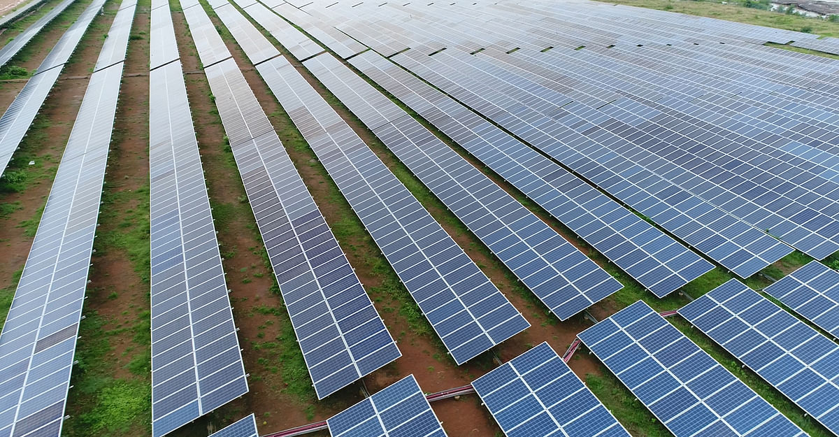 An aerial view of 750 MW Solar Power Plant Project that has been inaugurated by Prime Minister Narendra Modi via video conferencing, in Rewa on Friday.