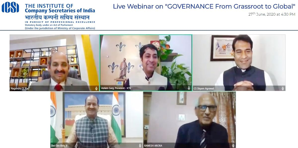 ICSI organises live Webinar on ''Governance – from Grassroot to Global''