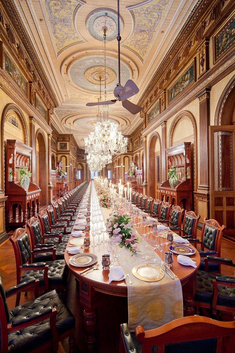 World's longest dining table at Taj Falaknuma Palace