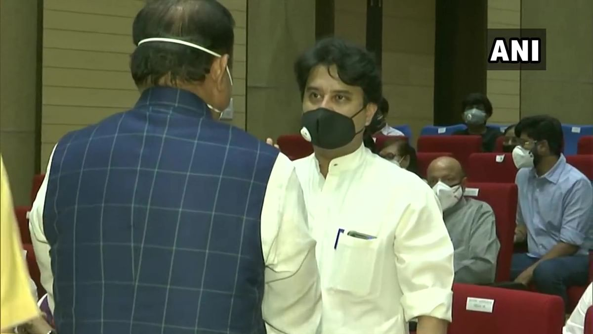 BJP leader Jyotiraditya Scindia and other leaders arrive at Raj Bhawan in Bhopal, for the oath taking ceremony of State Cabinet Ministers.