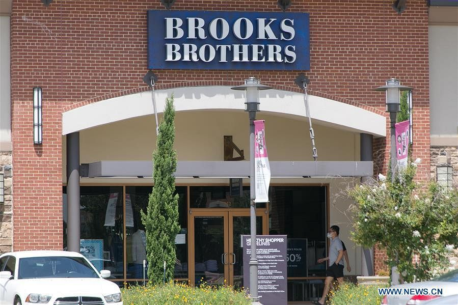 Photo taken on July 8, 2020 shows the logo at a Brooks Brothers store in Allen, Texas, the United States. Brooks Brothers, one of the oldest apparel retailers in the United States, filed for bankruptcy protection on Wednesday, as the coronavirus pandemic continues to impact businesses.