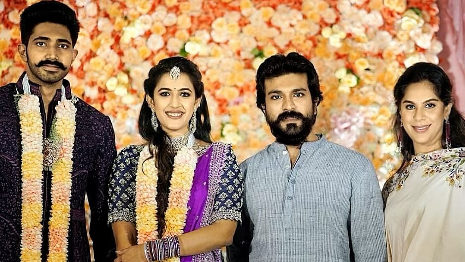 In Pics: Ram Charan, Allu Arjun, and others attend Niharika Konidela's lavish engagement