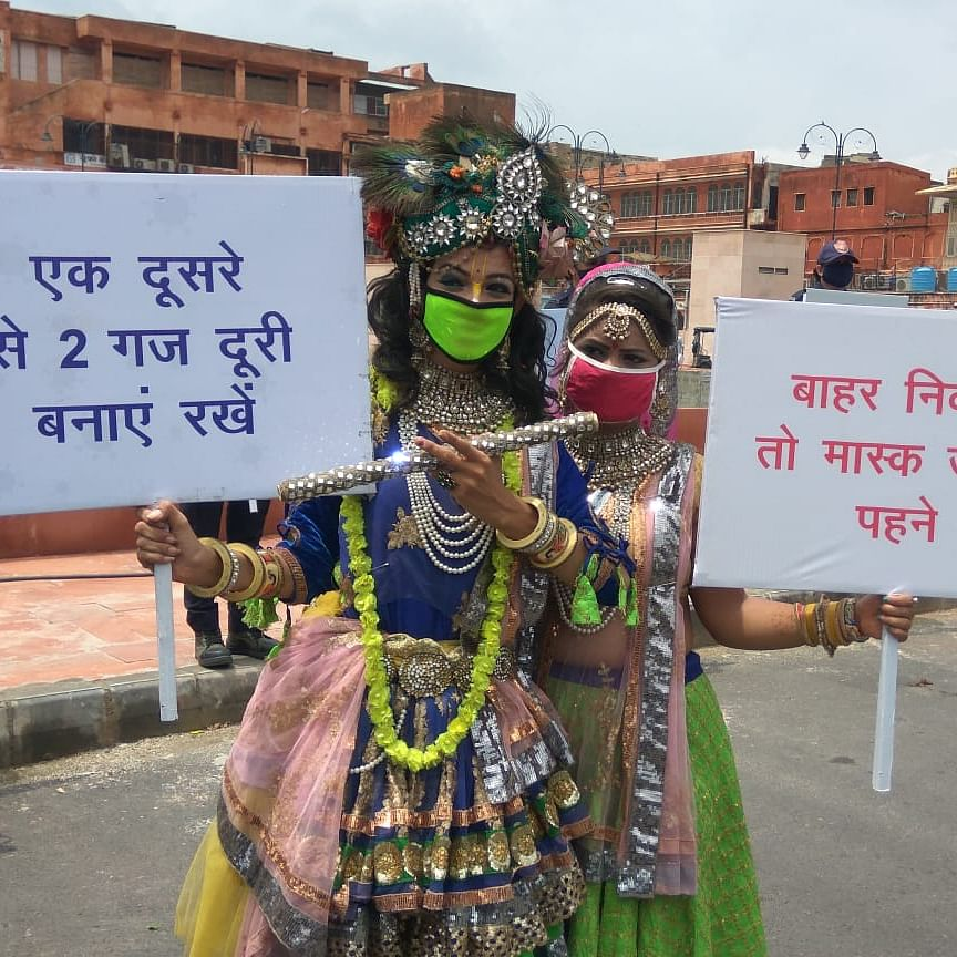 Krishna Janmashtami 2020: Jaipur Police's all-woman 'Nirbhaya Squad' creates COVID-19 awareness; see pics