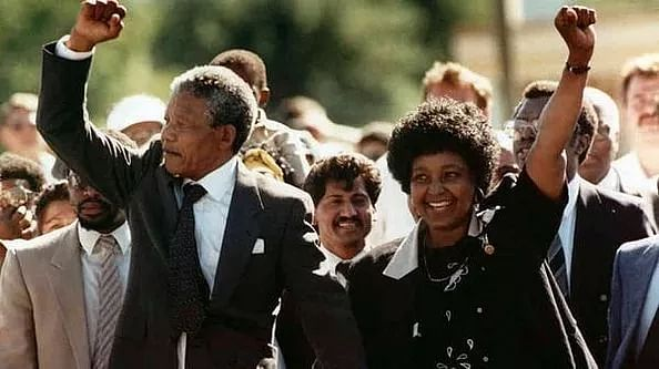 Nelson Mandela set free in 1990 after 27 years of imprisonment