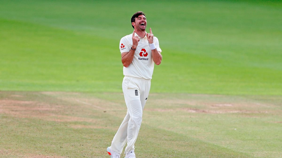 England's James Anderson celebrates after taking the wicket of Pakistan's Azhar Ali, his 600th Test match wicket
