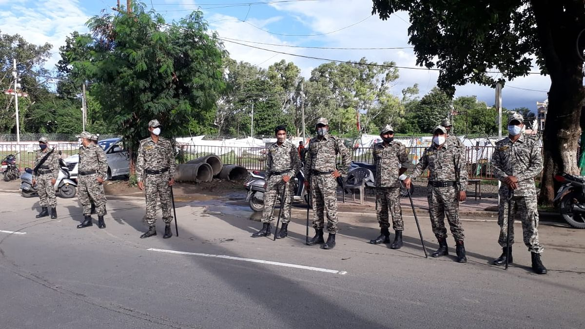 Army personnel deployed at the Rajwada Square, to check gathering of people in view of Muharram, on Sunday
