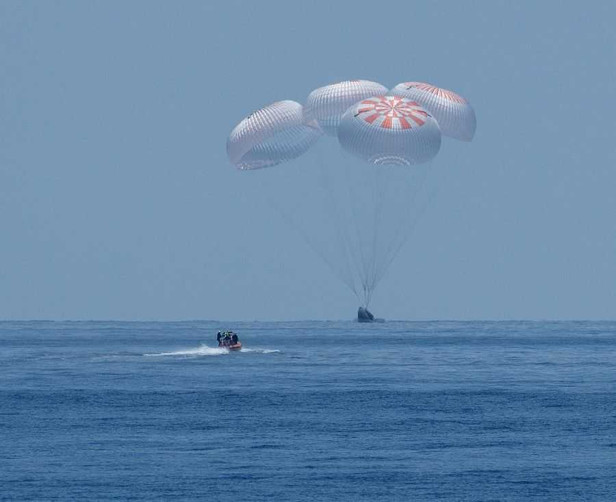 Watch: SpaceX capsule with two NASA astronauts makes splashdown in Gulf of Mexico