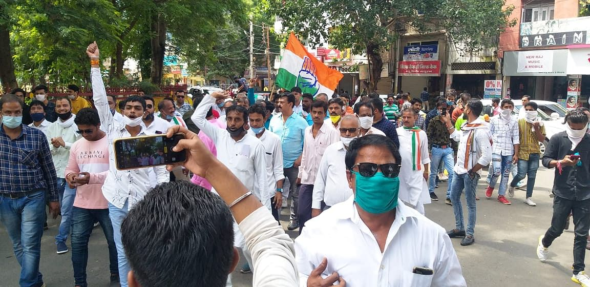 Farmers marching to Collector office.
