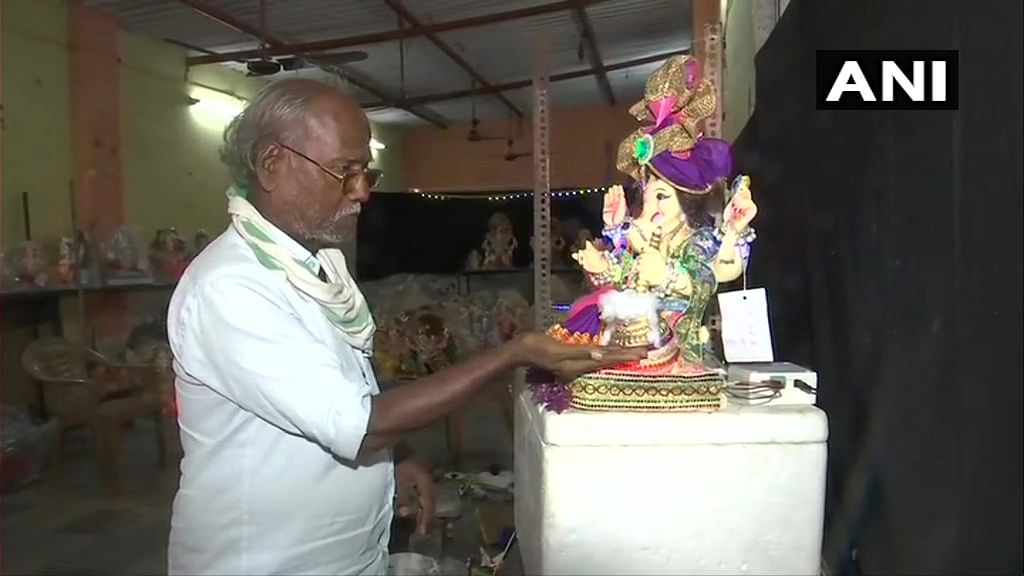 Festival amid pandemic: Mumbai artist creates sanitiser-dispensing Ganesh idol