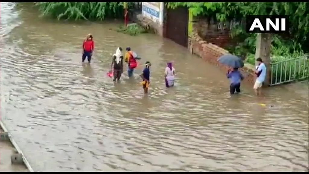 Gurugram: Severe water-logging after heavy rains in the area.