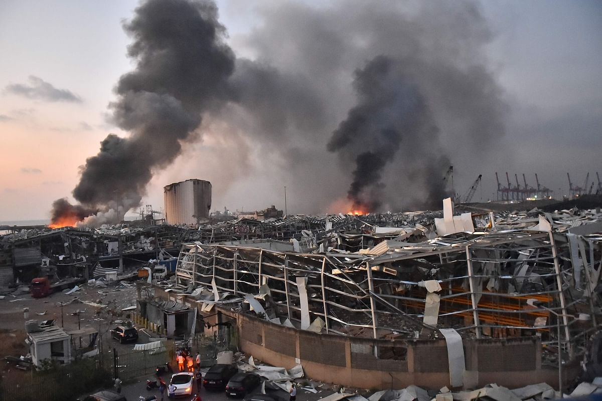 This picture taken on August 4, 2020 shows a general view of the scene of an explosion at the port of Lebanons capital Beirut