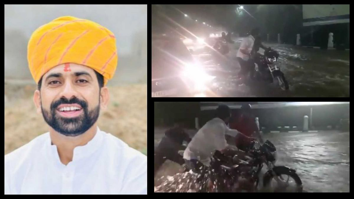 Watch: Rajasthan Congress leader Manish Yadav wades into deep water to help citizen in Jaipur