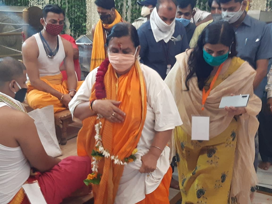 BJP national leader Uma Bharti reached Ujjain on Monday to seek the blessings of Lord Mahakal.
