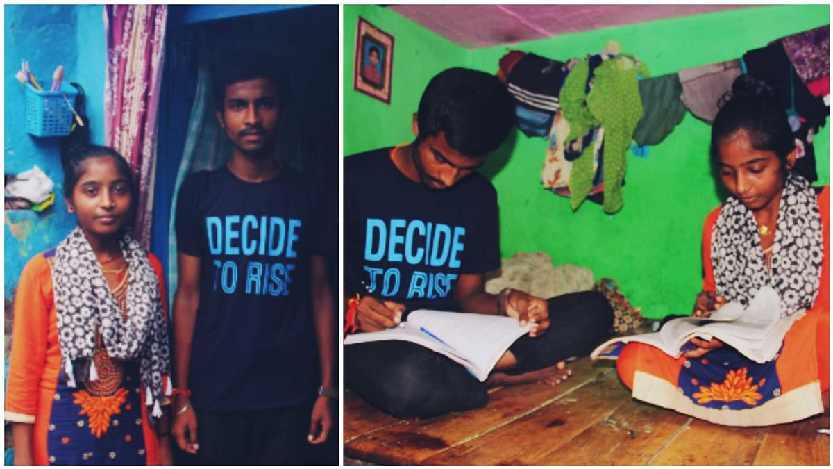 Preeti and Rohit at their house in Kalkaji slum community in Delhi.