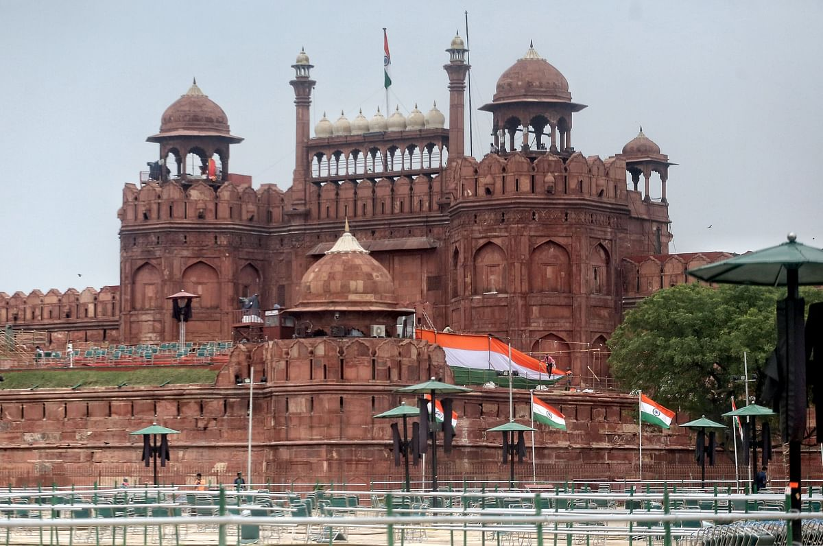 Workers preparing for the upcoming Independence Day celebrations at Red Fort in New Delhi on Wednesday.