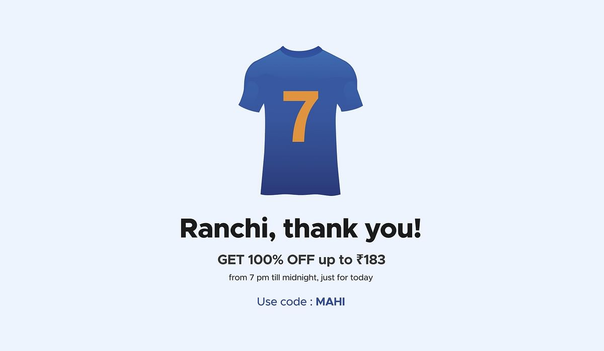 'Gift for the city that gifted India a legend': Zomato gives 100% off for orders up to Rs 183 in Ranchi