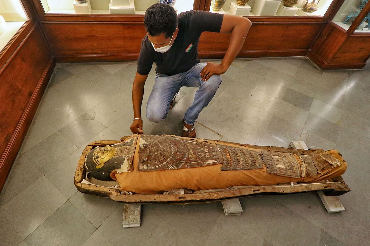 This Egyptian mummy has been taken out of its case in about 130 years