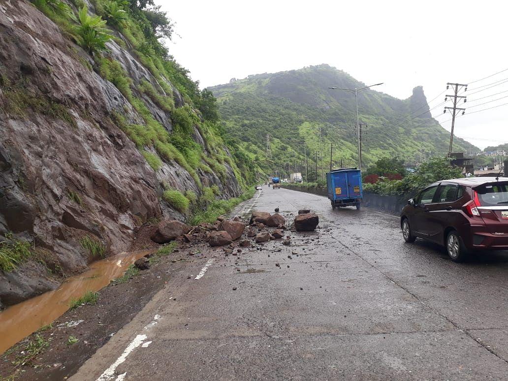 Thane: Heavy rains trigger mudslide near Mumbra Bypass Road; no casualties reported