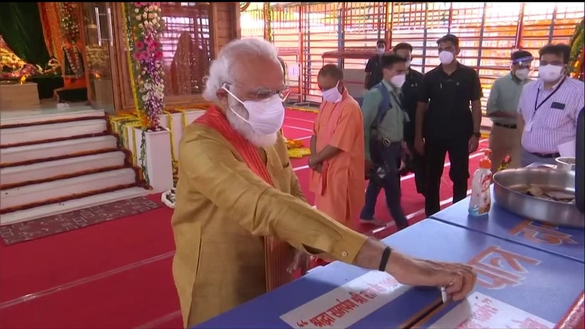 Prime Minister Narendra Modi after offering prayers to Ram Lalla before the Ram Temple foundation stone laying ceremony, at Ram Janmabhoomi site in Ayodhya on Wednesday.