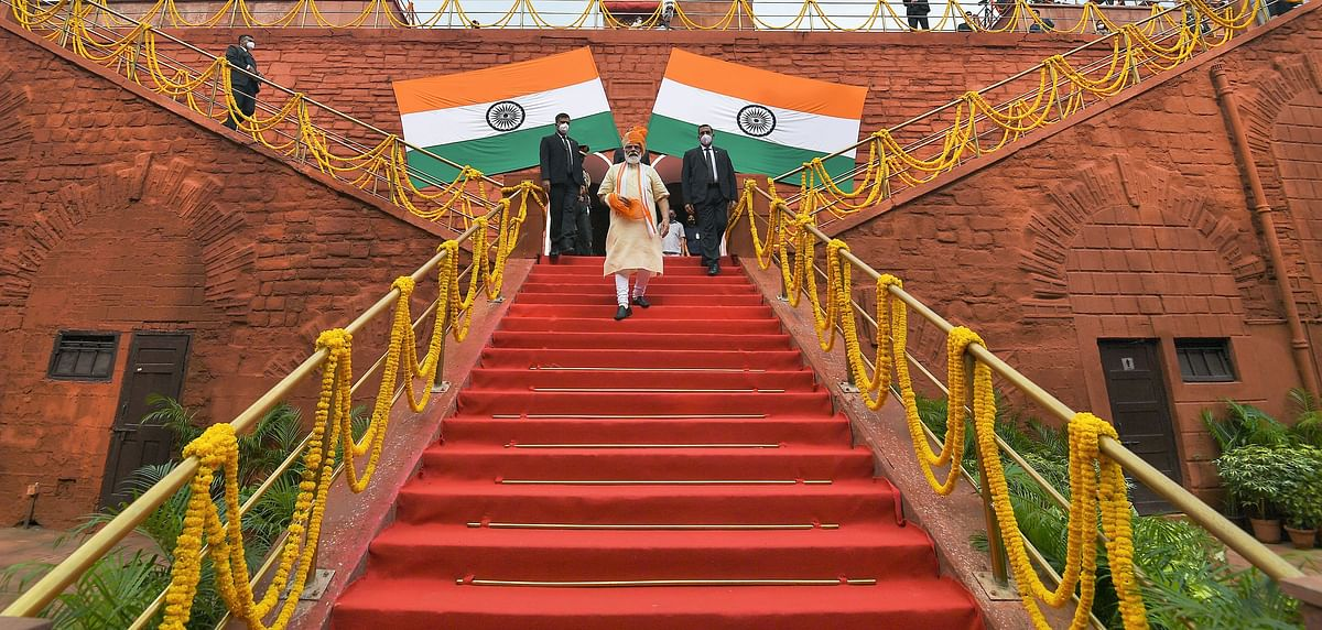 Prime Minister Narendra Modi leaves after addressing the nation on the occasion of 74th Independence Day from the Rampart of the Red Fort in New Delhi on Saturday.