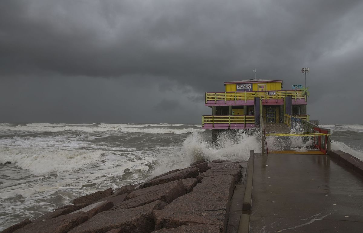 Waves from Hurricane Laura crash on the 61st Street fishing pier on August 25, 2020 in Galveston, Texas.