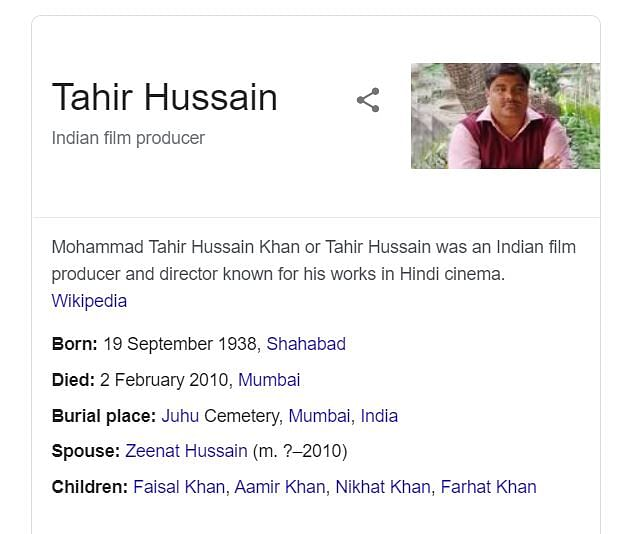 Does Google think Aamir Khan's father and suspended AAP councillor Tahir Hussain are the same person?