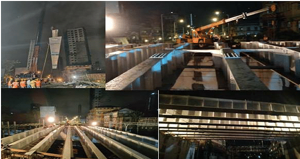 WR launches 8 girders at Ferere ROB between Charni road and Grant road