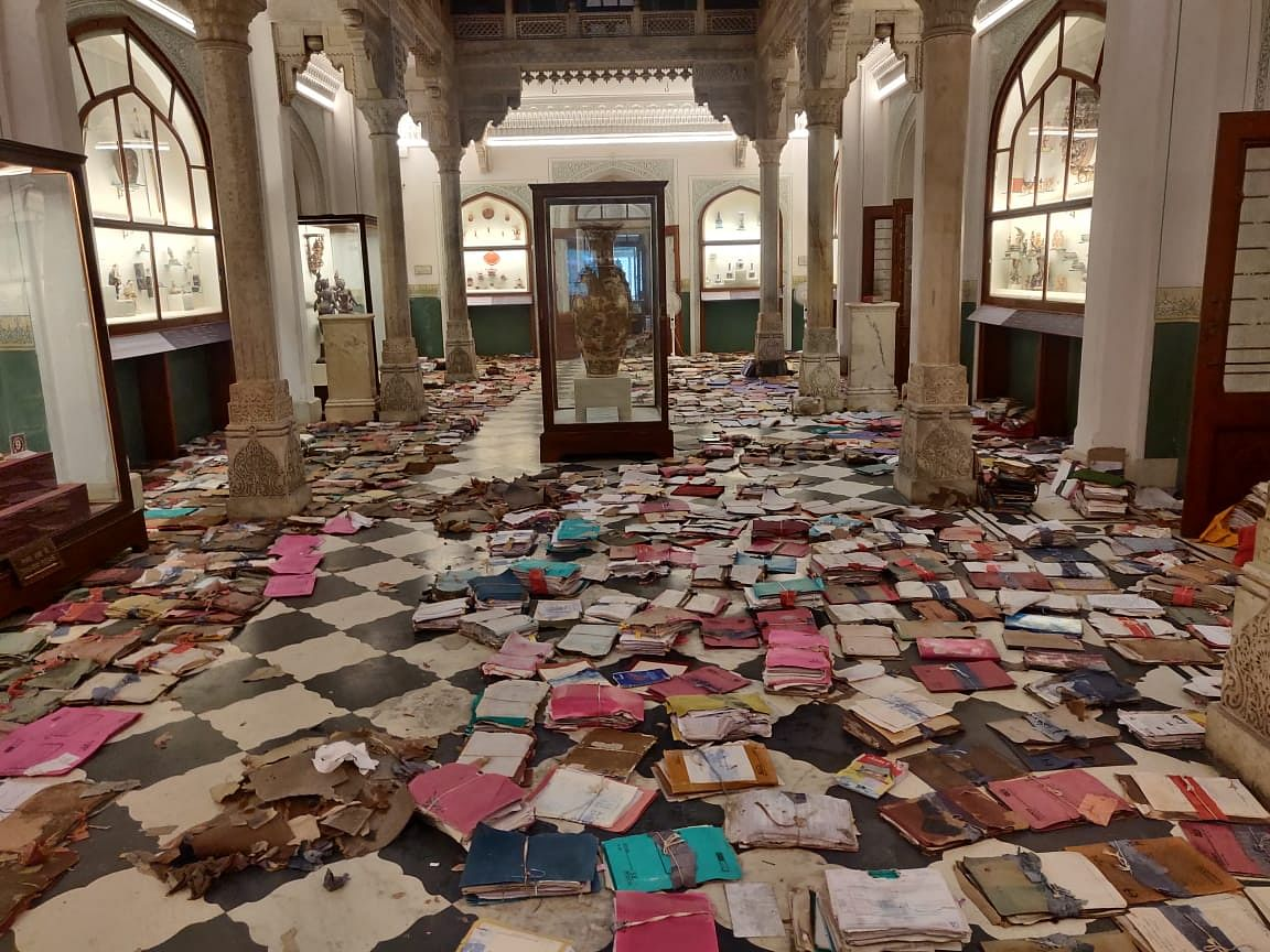 Documents kept on the floor for drying at Albert Hall Museum in Jaipur