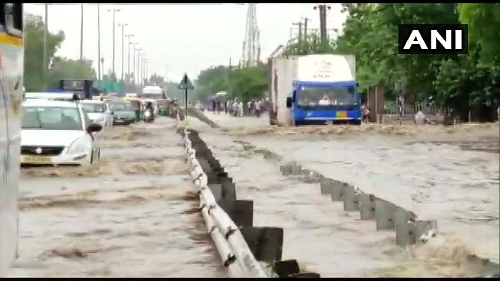 Gurugram: Severe water-logging at Delhi-Jaipur Expressway after heavy rains in the area.