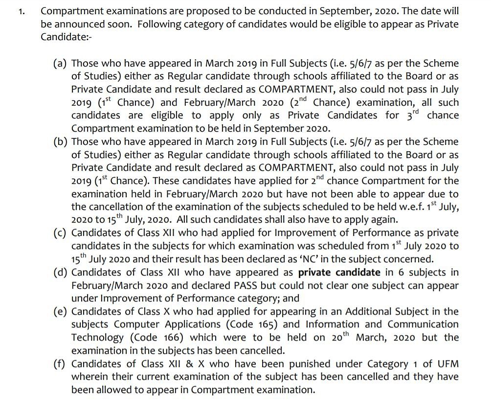 Eligibility criterion for private candidates.