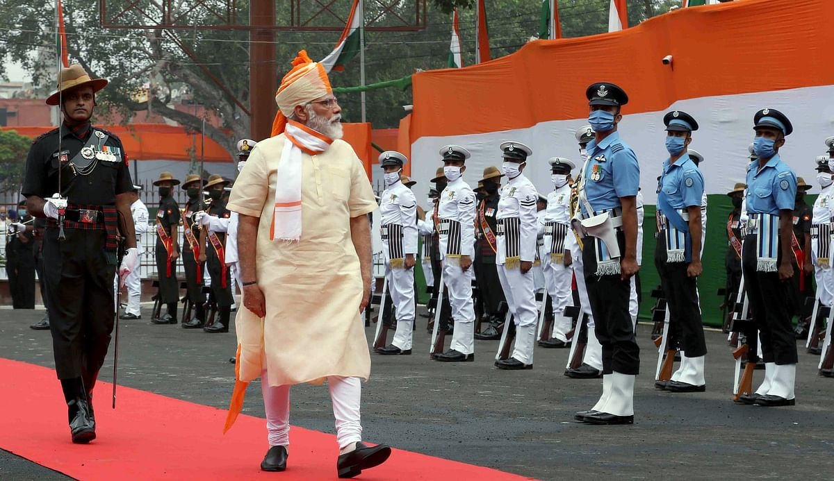 Prime Minister Narendra Modi inspecting the Guard of Honour at Red Fort on the occasion of 74th Independence Day, in New Delhi on Saturday.