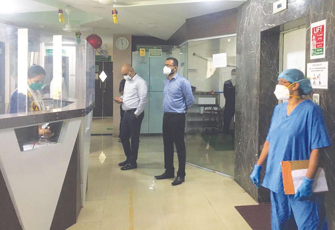 Dr Sudhakar Shinde inspects a hospital in Panvel.